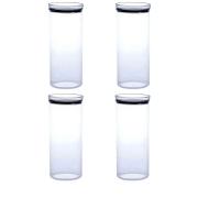 4 Potes Herméticos Redondo Empilháveis 2200ml para armazenamento de alimentos