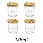 4 Potes Quattro Stagioni 320ml de vidro hermético Bormioli Rocco para papinhas, compotas, doces caseiros e conservas