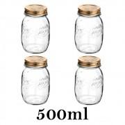 4 Potes Quattro Stagioni 500ml de vidro com fechamento hermético Bormioli Rocco para conservação de alimentos