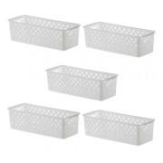 5 Cestas Organizadoras Quadratta branco para gavetas, armários, lavanderias, cozinha, banheiro e quarto