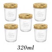 5 Potes Quattro Stagioni 320ml de vidro hermético Bormioli Rocco para papinhas, compotas, doces caseiros e conservas