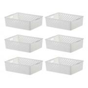 6 Cestos Organizadores multiuso Quadratta branco para gavetas, armários, lavanderias, cozinha, banheiro
