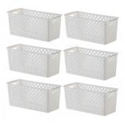 6 Cestos Organizadores Quadratta branco para armários, gavetas, lavanderias, cozinha, quarto e banheiro