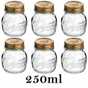6 Potes Quattro Stagioni 250ml de vidro com fechamento hermético Bormioli Rocco para papinhas e conservação de alimentos