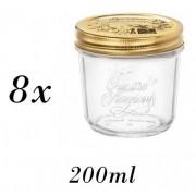 8 Potes Quattro Stagioni 200ml de vidro hermético Bormioli Rocco para papinhas, compotas, doces caseiros e conservas
