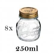 8 Potes Quattro Stagioni 250ml de vidro com fechamento hermético Bormioli Rocco para papinhas e conservação de alimentos