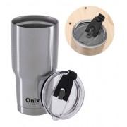 Copo térmico aço Inox 870ml para café chá água cerveja com tampa Onix Termic
