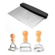 Espátula, raspador e cortador de inox para massas e recortador ravioli redondo, quadrado e pequeno