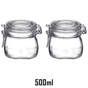 Jogo de 2 Potes herméticos pequenos de 500ml Fido Rocco Bormioli transparente com tampa para armazenamento de alimentos