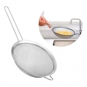 Peneira e coador Inox 24cm para cozinha escorrer legumes, frutas e massas