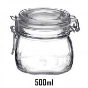 Pote  hermético de 500ml - Fido Rocco Bormioli transparente com tampa para mantimentos