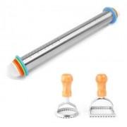 Rolo ajustável de Inox para massas e cortadores de ravioli redondo e quadrado