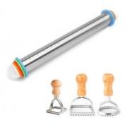 Rolo Ajustável de Inox para massas e cortadores de ravioli redondo, quadrado e pequeno