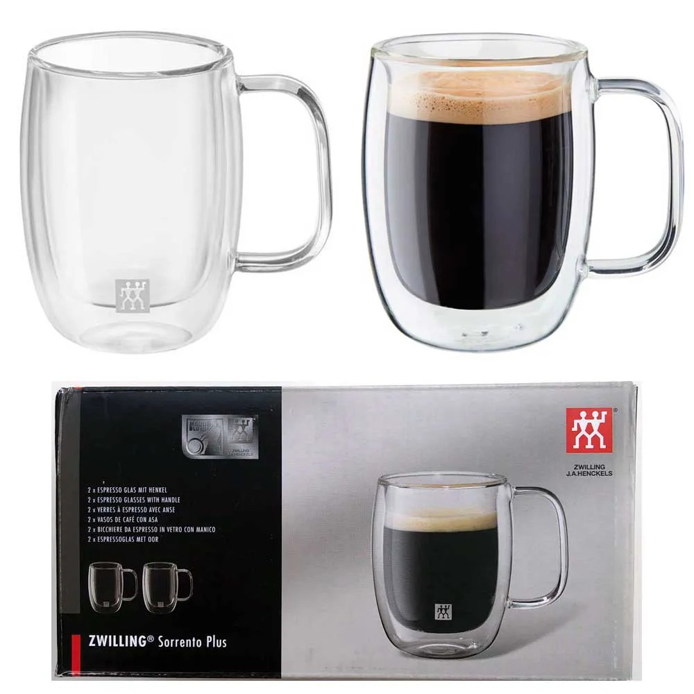 2 canecas de vidro de parede dupla para café espresso e chás 134ml - Zwilling Sorrento