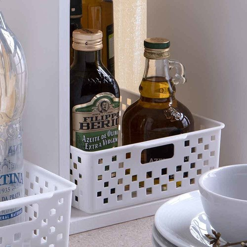 2 Cestos Organizadores multiuso Quadratta branco para gavetas, armários, lavanderias, cozinha, banheiro, quarto