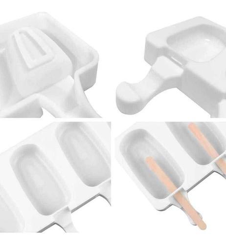 2 Formas De Silicone Picolé Sorvete Com Encaixe Central Palito