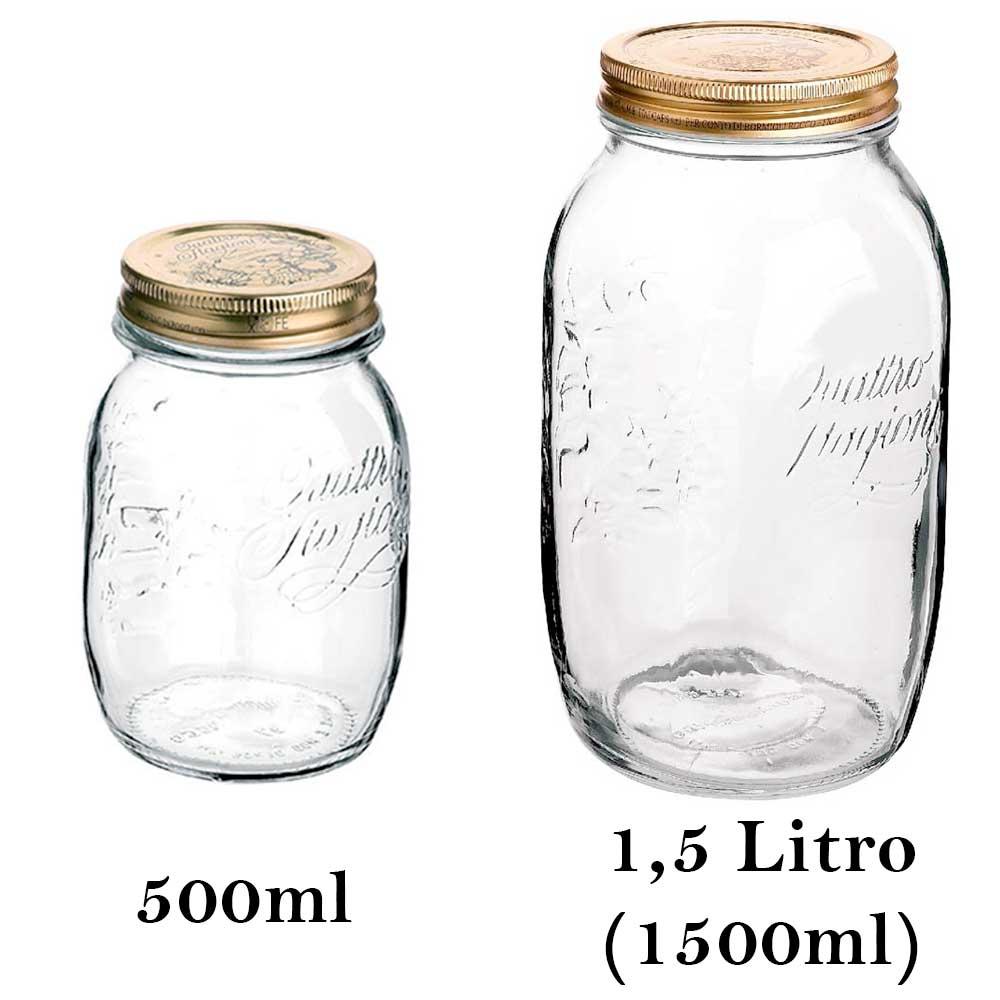 2 Potes de vidro hermético Quattro Stagioni Bormioli Rocco para papinhas, compotas, conservas, legumes e frutas