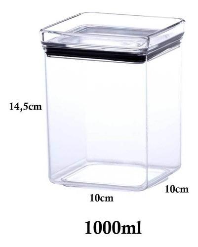 2 Potes Hermético quadrado empilhável 1000ml para armazenamento de alimentos