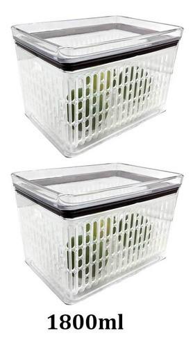 2 Potes Herméticos para frutas legumes Empilháveis 1800ml