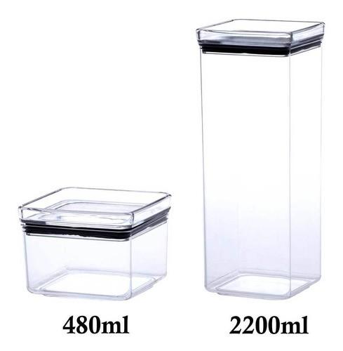 2 Potes Herméticos quadrado 480ml e 2200ml para armazenamento de alimentos