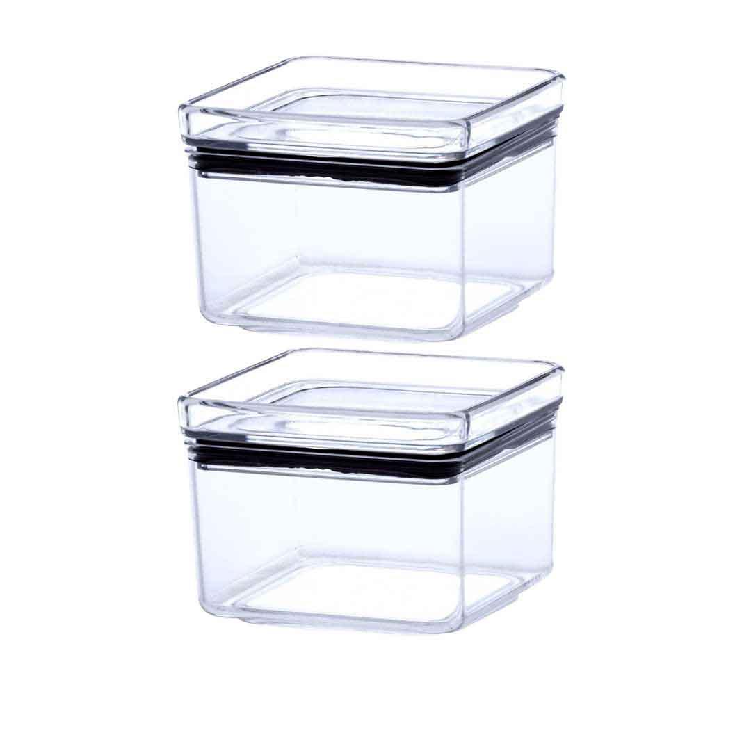 2 Potes Herméticos quadrado empilháveis 480ml para armazenamento de alimentos