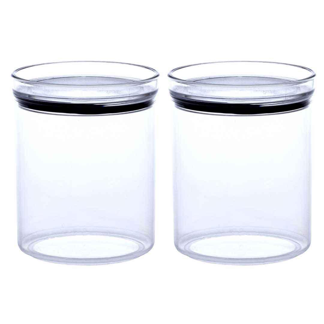 2 Potes Herméticos Redondo Empilháveis 1000ml para armazenamento de alimentos