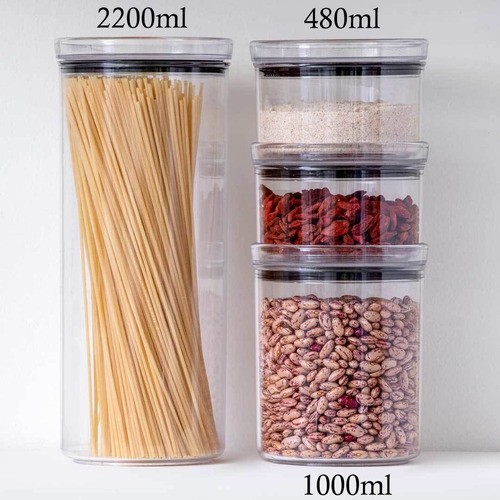 2 Potes Herméticos Redondo Empilháveis 480ml para armazenamento de alimentos
