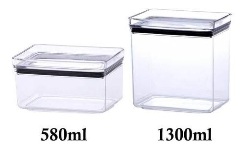 2 Potes Herméticos Retangular 580ml e 1300ml para armazenamento de alimentos