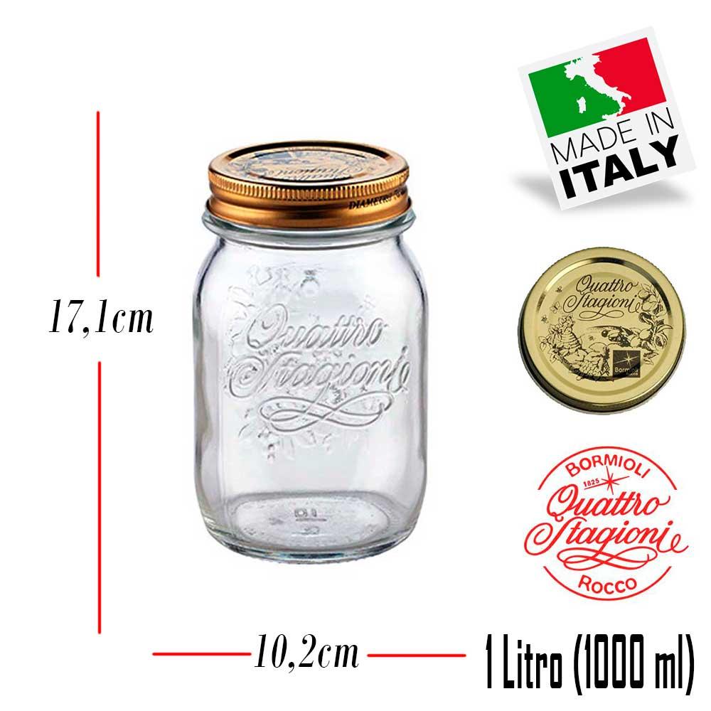 2 Potes Quattro Stagioni 1 Litro (1000ml) de vidro com fechamento hermético Bormioli Rocco para conservação de alimentos