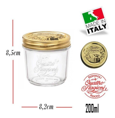 2 Potes Quattro Stagioni 200ml de vidro hermético Bormioli Rocco para papinhas, compotas, doces caseiros e conservas