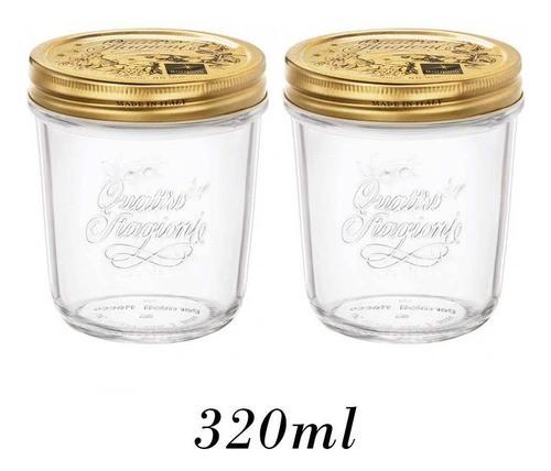 2 Potes Quattro Stagioni 320ml de vidro hermético Bormioli Rocco para papinhas, compotas, doces caseiros e conservas