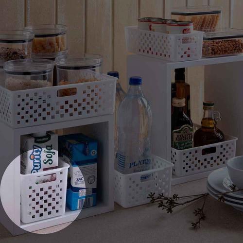 3 Cestas Organizadoras Quadratta branco para gavetas, armários, lavanderias, cozinha, banheiro e quarto