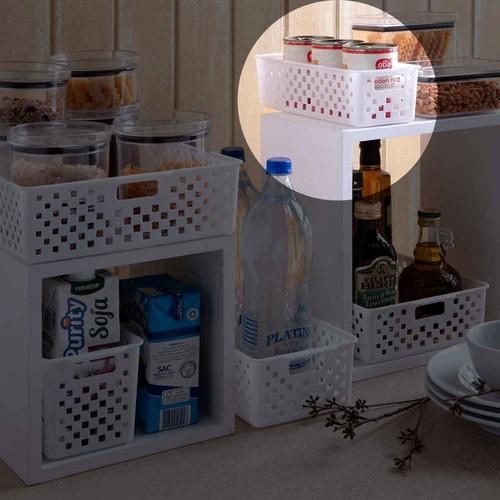3 Cestinhas Organizadoras Quadratta branco para gavetas, quarto infantil, armários, lavanderias, cozinha e banheiro