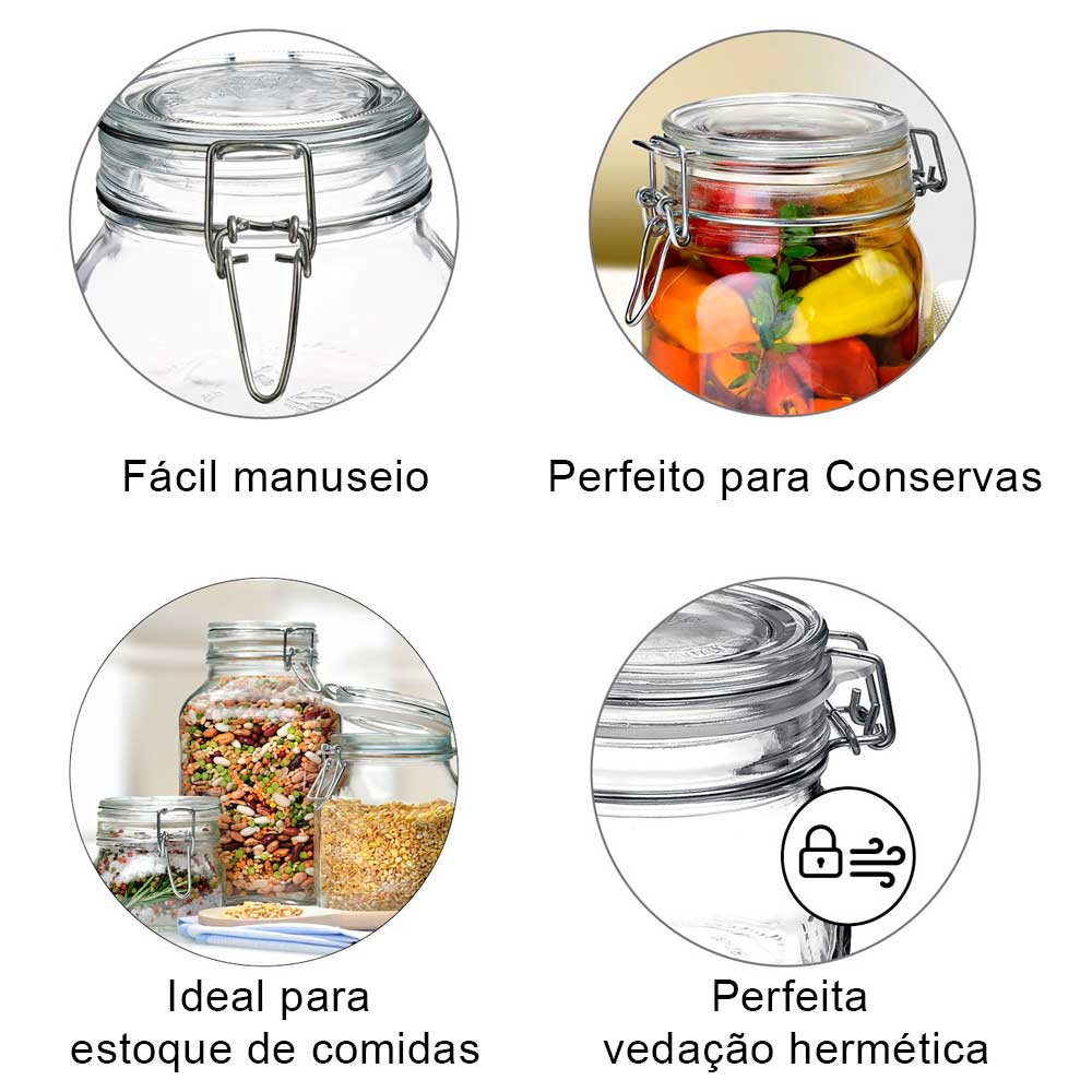 3 Potes de vidro 750ml Fido Rocco Bormioli hermético transparente com tampa para armazenamento de alimentos