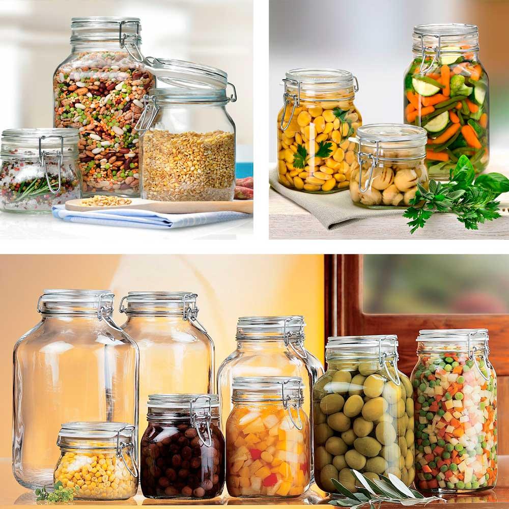 3 Potes hermético 1,5 Litro (1500ml) Fido Rocco Bormioli de vidro transparente com tampa para armazenamento de alimentos
