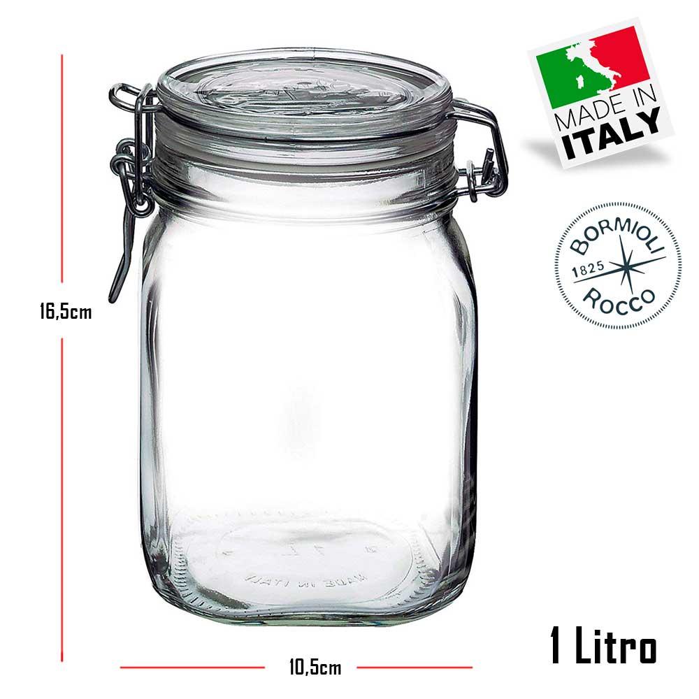 3 Potes com fechamento hermético 1 Litro ( 1000ml ) Fido Rocco Bormioli de vidro transparente quadrado