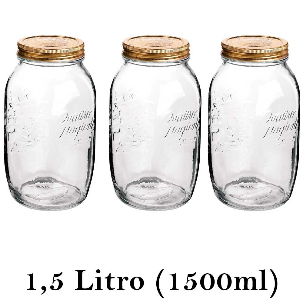 3 Potes herméticos grandes Quattro Stagioni 1,5 Litro (1500ml) Bormioli Rocco para conservação de alimentos