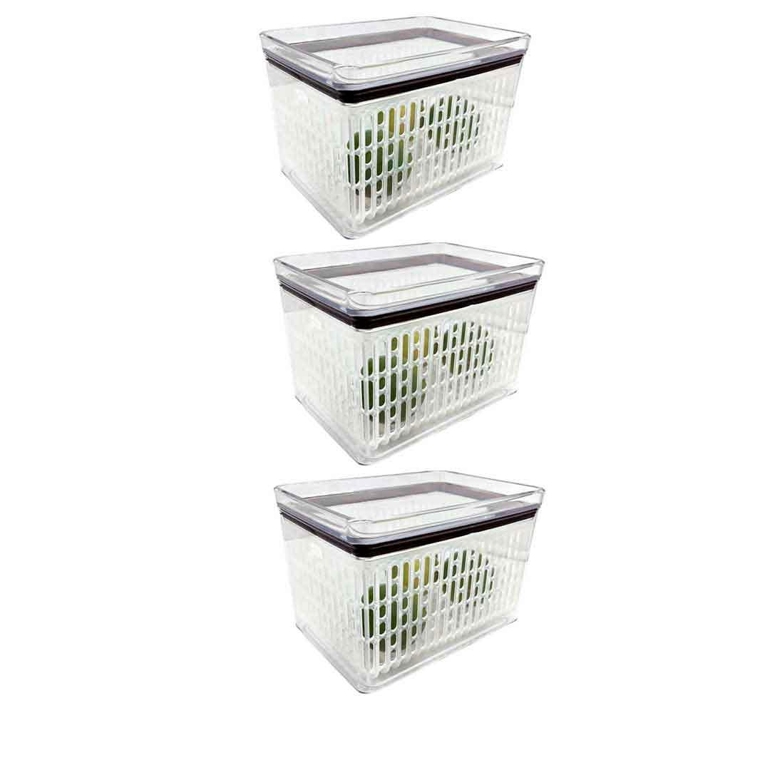 3 Potes Herméticos para frutas legumes Empilháveis 1800ml