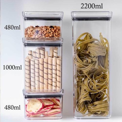 3 Potes Herméticos quadrado 480ml, 1000ml e 2200ml para armazenamento de alimentos