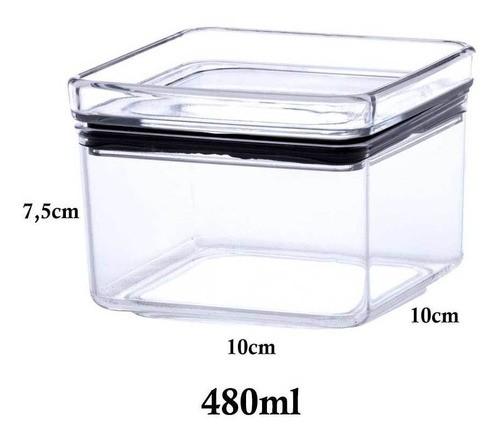 3 Potes Herméticos quadrado empilháveis 480ml para armazenamento de alimentos