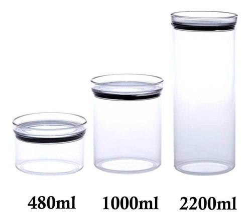 3 Potes Herméticos Redondo 480ml, 1000ml e 2200ml para armazenamento de alimentos