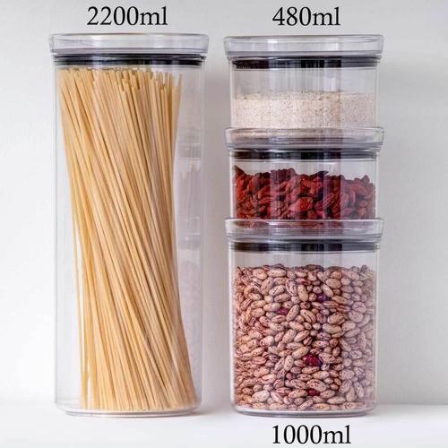 3 Potes Herméticos Redondo Empilháveis 480ml para armazenamento de alimentos
