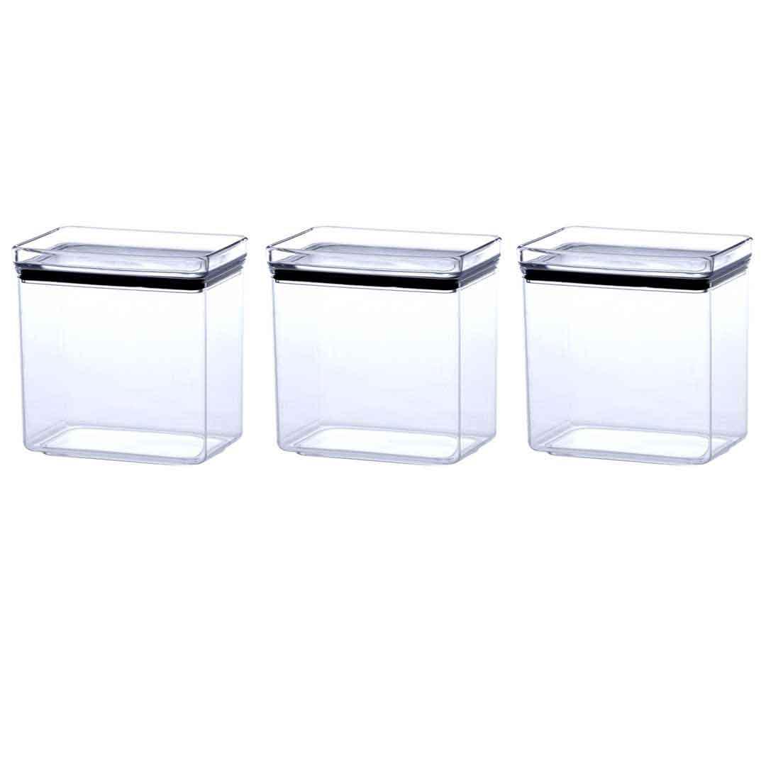 3 Potes Herméticos Retangular Empilháveis 1300ml para armazenamento de alimentos