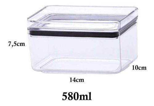 3 Potes Herméticos Retangular Empilháveis 580ml para armazenamento de alimentos
