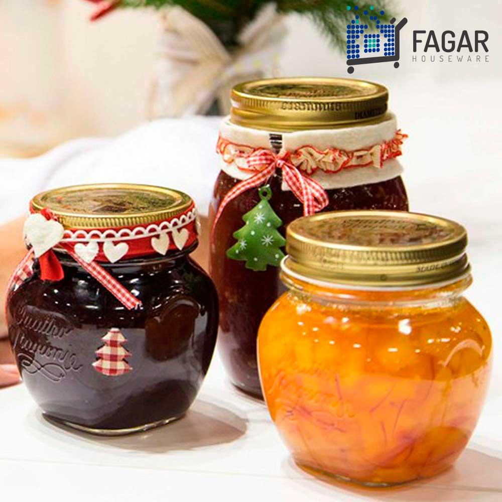 3 Potes Quattro Stagioni 250ml de vidro com fechamento hermético Bormioli Rocco para papinhas e conservação de alimentos
