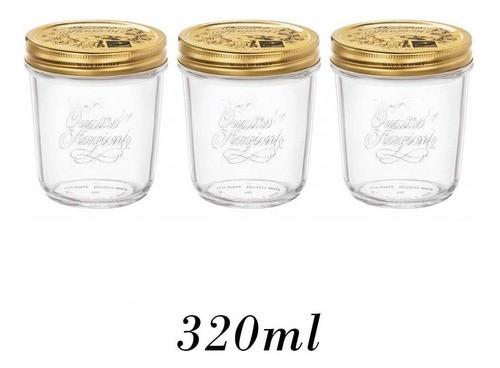 3 Potes Quattro Stagioni 320ml de vidro hermético Bormioli Rocco para papinhas, compotas, doces caseiros e conservas