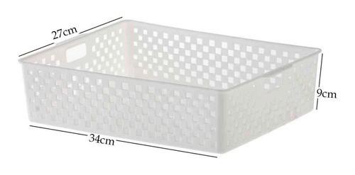 4 Cestas Organizadoras Quadratta branco para gavetas, armários, lavanderias, cozinha, banheiro, quarto