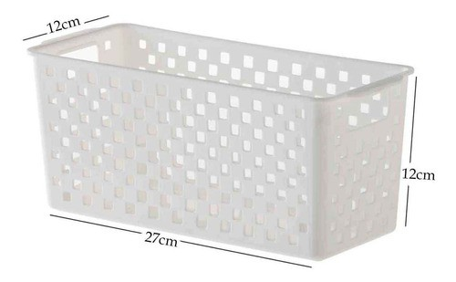 4 Cestos Organizadores Quadratta branco para gavetas, armários, cozinha, lavandeira, banheiro e quarto