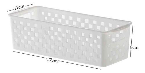 4 Cestos Organizadores Quadratta branco para gavetas, armários, lavanderias, quarto, cozinha e banheiro