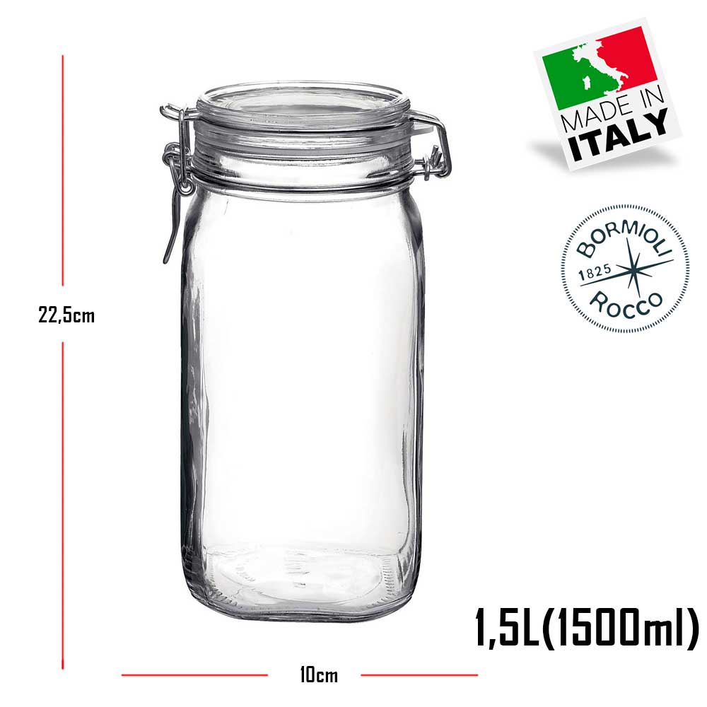 4 Potes Fido Rocco Bormioli de vidro com tampa hermética - 2 750ml + 2 1500ml (1,5 Litro) para armazenamento de alimento